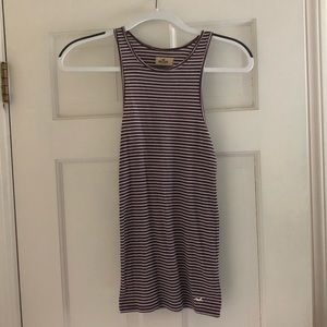 Maroon and white stripped tank top, size S